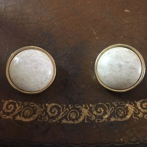 Vintage white clip on earrings